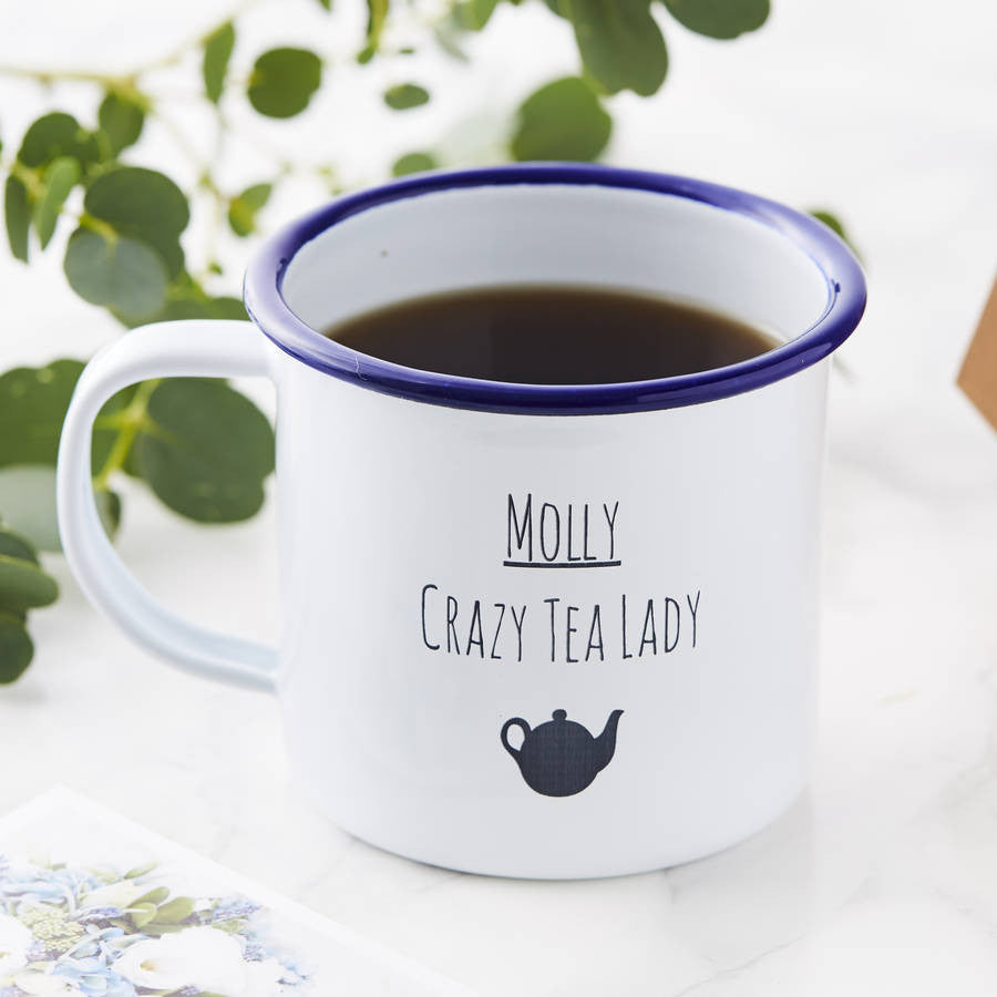Personalised Tea Lady Enamel Mug