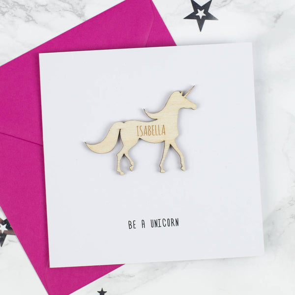 Personalised Unicorn Keepsake Card