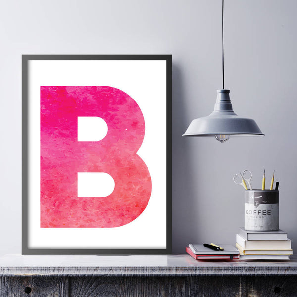 Personalised Watercolour Initial Print