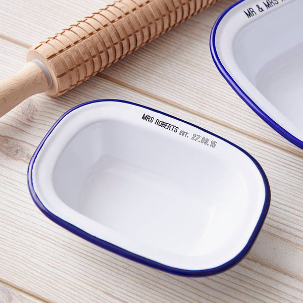 Personalised Wedding Enamel Pie Dish