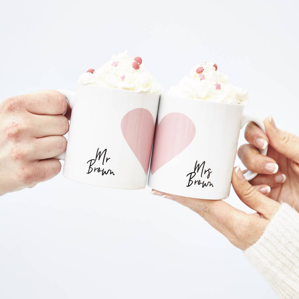 Personalised Wedding Heart Mug Set