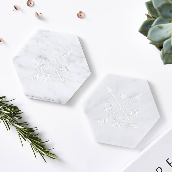 Personalised Wedding Marble Coaster