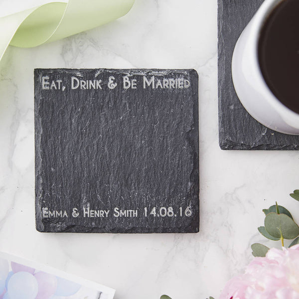 Personalised Wedding Slate Coaster