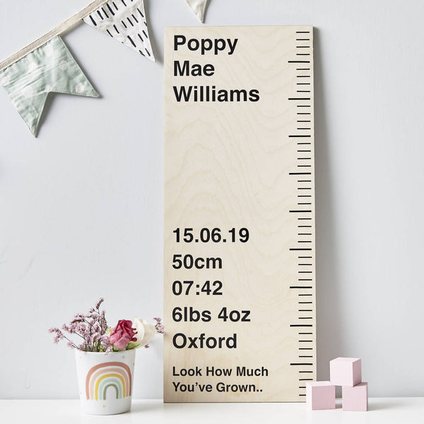 Personalised Wooden Birth Ruler