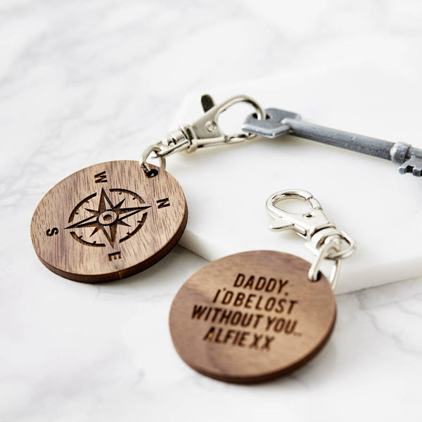 Personalised Wooden Compass Keyring