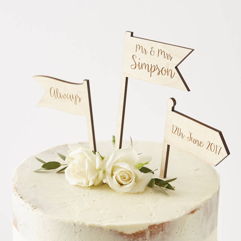 Personalised Wooden Flags Cake Topper