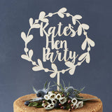 Personalised Wooden Floral Hen Party Cake Topper