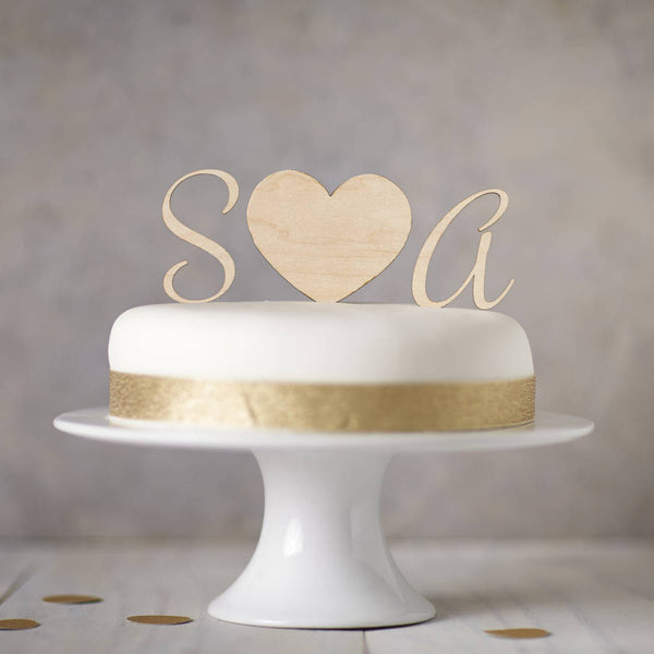 Personalised Wooden Monogram Cake Toppers