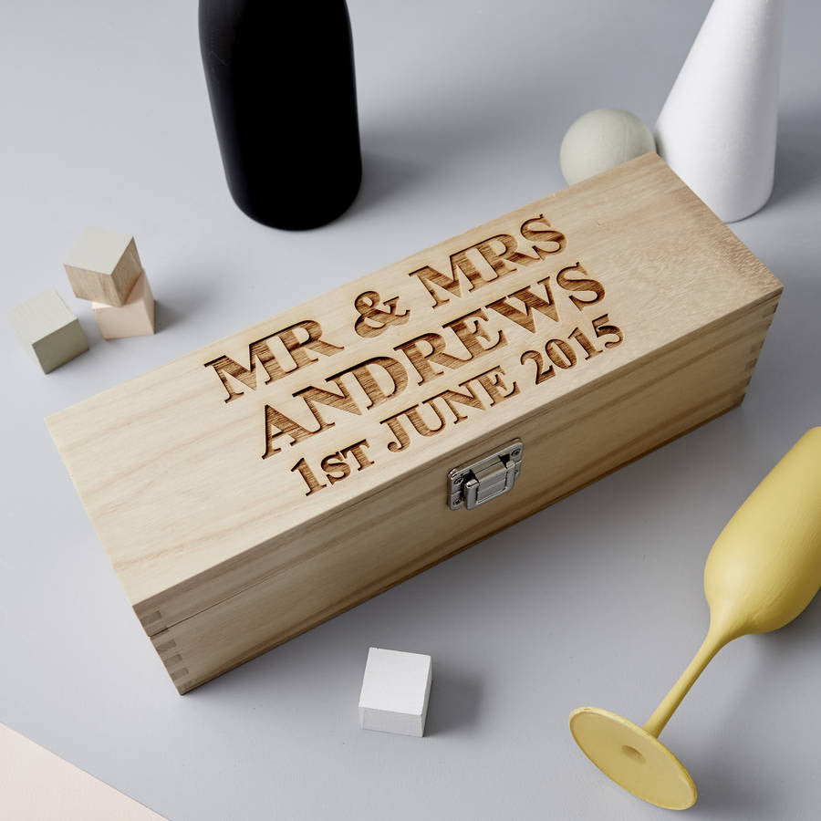 Personalised Wooden Wedding Bottle Box