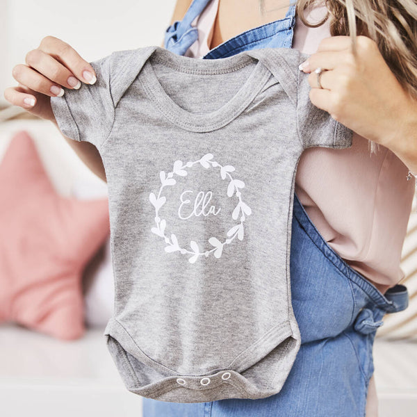 Personalised Wreath Short Sleeve Babygrow