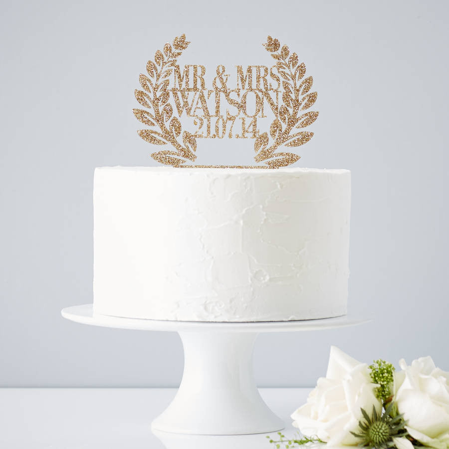 Personalised Wreath Wedding Cake Topper