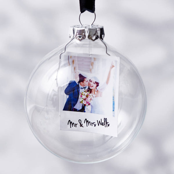 Polaroid Mr And Mrs Personalised Christmas Bauble