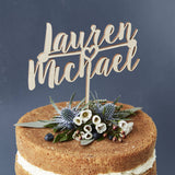 Romantic Personalised Couples Wooden Cake Topper