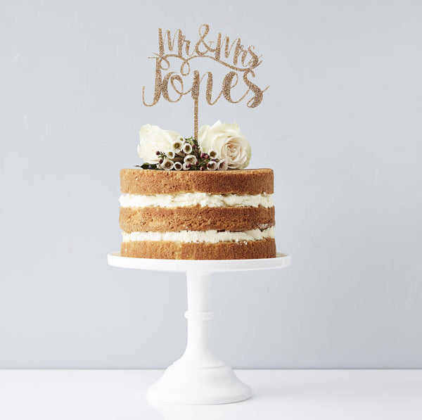 Romantic Personalised Mr And Mrs Cake Topper Sophia