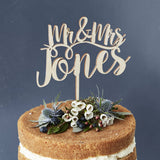 Romantic Personalised Mr And Mrs Wooden Cake Topper