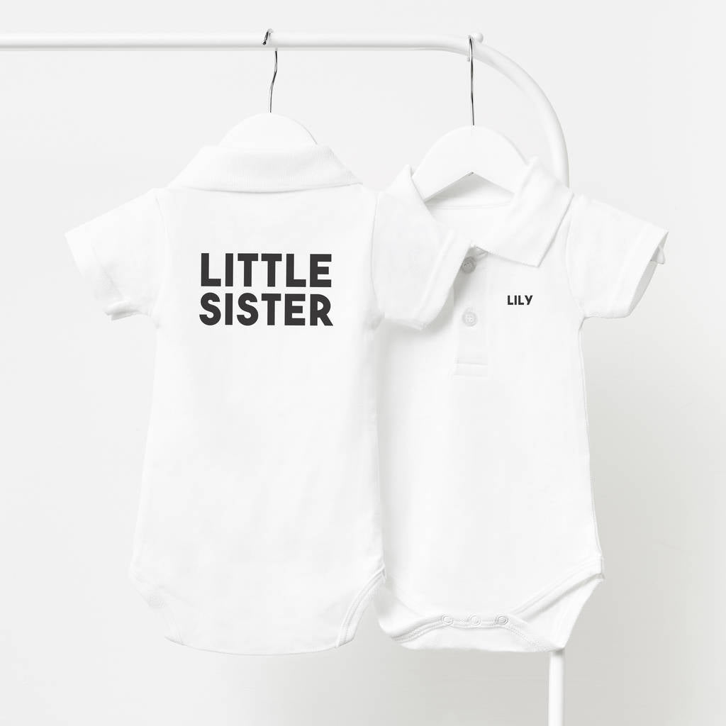 4670bdacb Personalised Little Sister Polo Babygrow – Sophia Victoria Joy