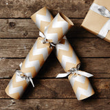 Silver Chevron Brown Christmas Crackers