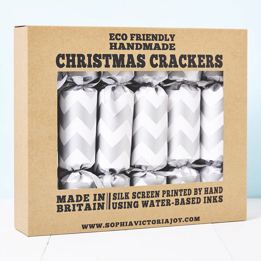 Silver Chevron White Christmas Crackers