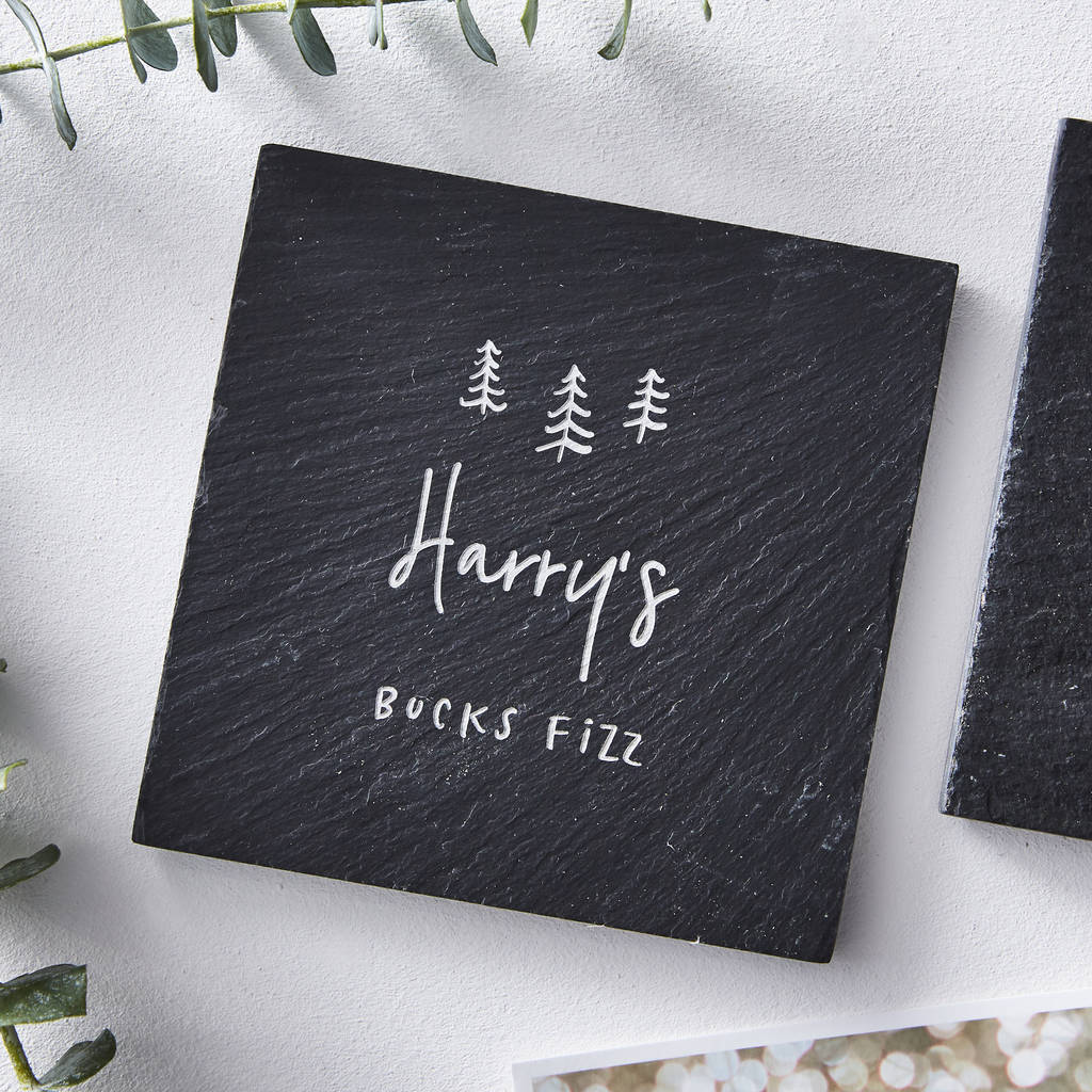 Slate Personalised Christmas Coaster
