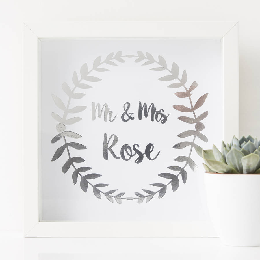 Personalised Mr And Mrs Framed Print