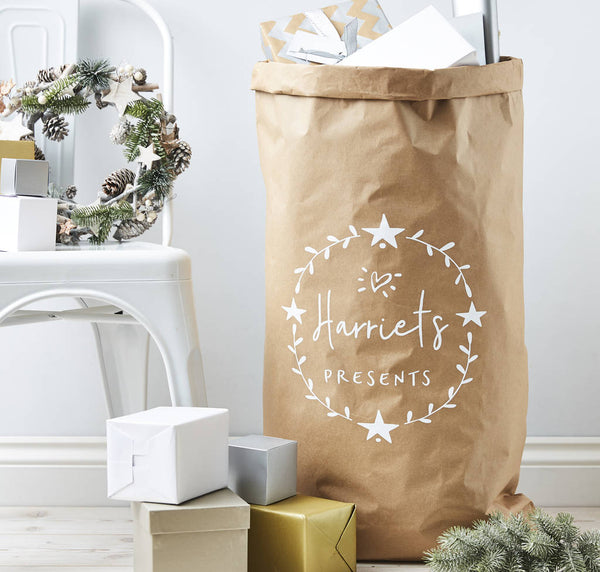 Star Wreath Personalised Christmas Sack