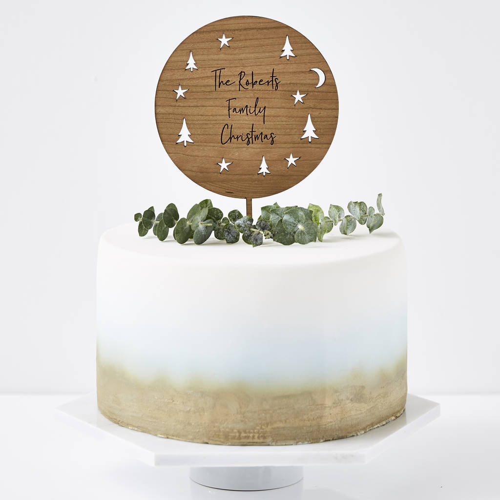 Starry Night Personalised Christmas Cake Topper