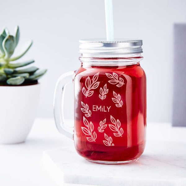 Vine Personalised Mason jar