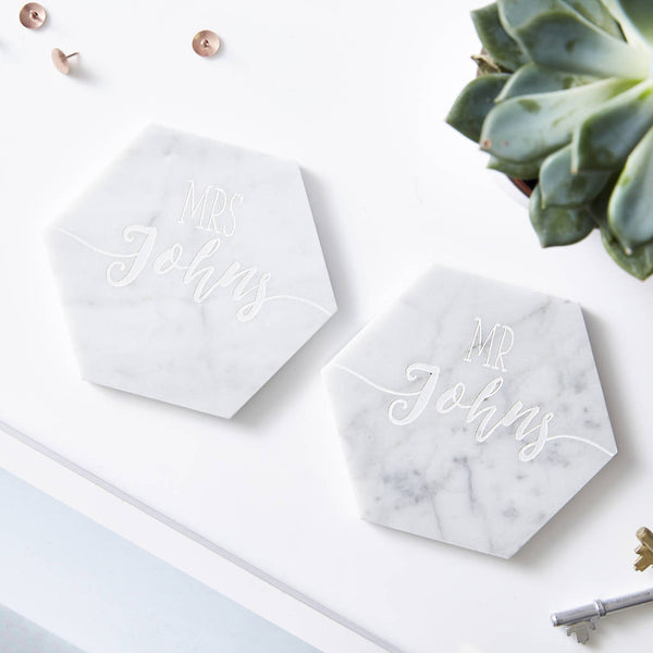 Wedding Personalised Marble Coaster