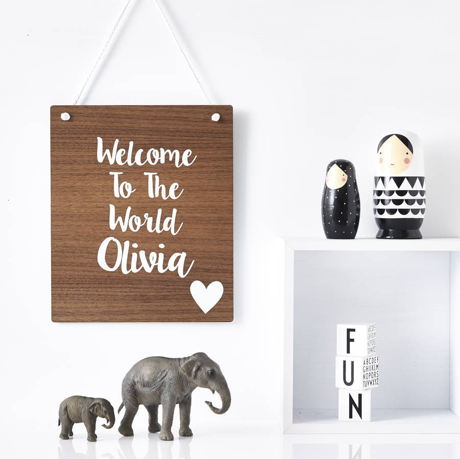 Welcome To The World Personalised Wooden Wall Art