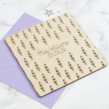 Wooden Feather Personalised Baby Card