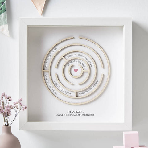 Wooden Maze Personalised Baby Print