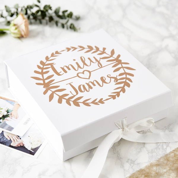 Wreath Personalised Wedding Keepsake Box