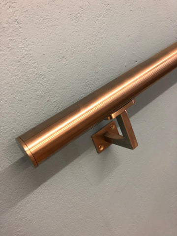 Stainless Steel Handrail With Flat Ends Hybrid Bracket - SimpleHandrails.co.uk