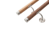 Stainless Steel & Walnut Handrail Flat End Caps - SimpleHandrails.co.uk
