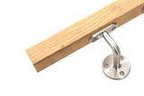Stainless Steel & Oak Square Handrail - SimpleHandrails.co.uk