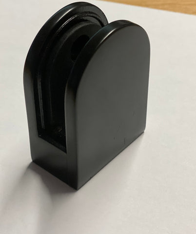 Black Powder Coated Glass Clamp- Flat Back- 10mm Glass - SimpleHandrails.co.uk