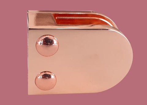 Rose Gold Glass Clamp- Flat Back- 10mm Glass - SimpleHandrails.co.uk