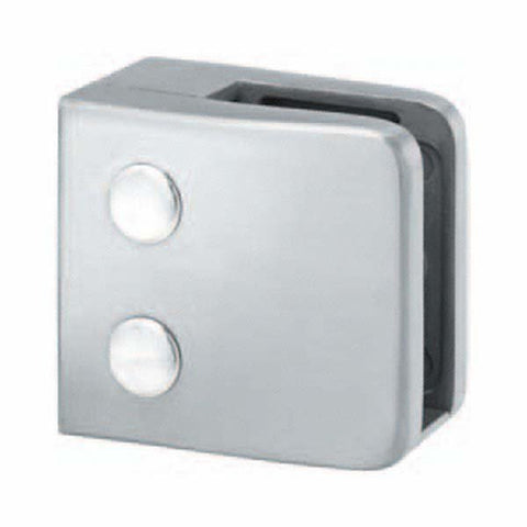 Square Glass Clamp- Flat Back- 10mm Glass - SimpleHandrails.co.uk