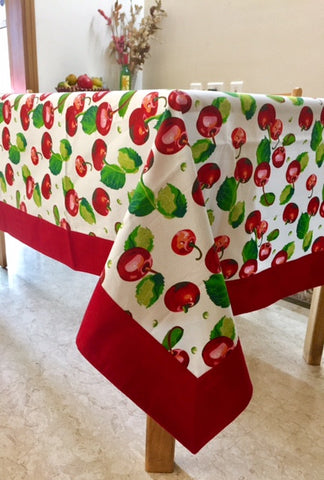 Red Cherries Table Cloth With Red Border 6 Seater