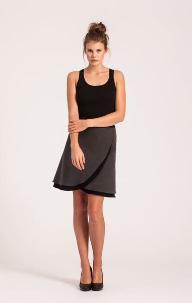 Charcoal on Black <br>All-Season Wrap Skirt <br>Petite Length