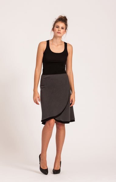 Charcoal on Black <br>All-Season Wrap Skirt <br>Original Length