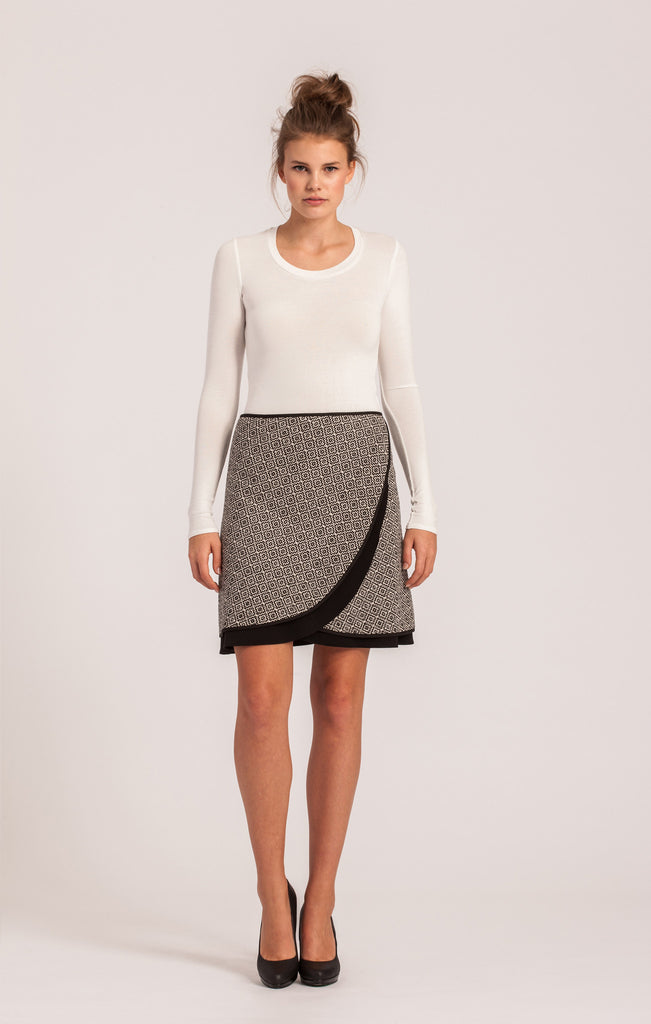 Black and White <br>Wool Wrap Skirt <br>Petite Length