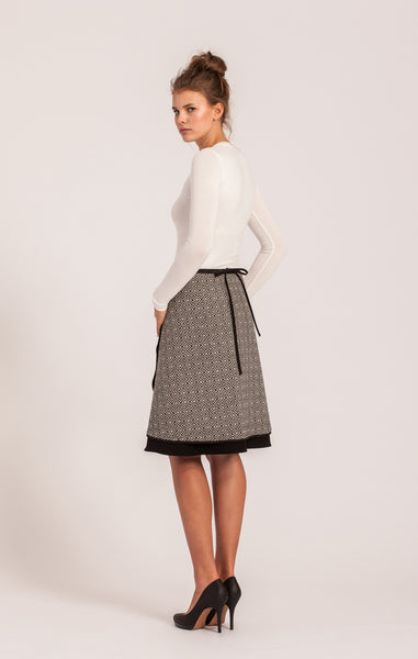 Black and White <br>Wool Wrap Skirt <br>Original Length