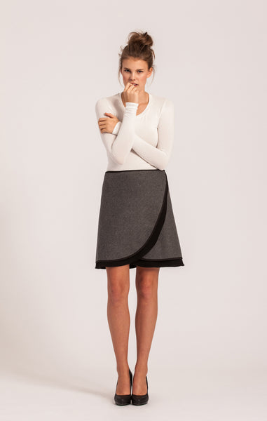 Charcoal on Black <br>Wool Wrap Skirt <br>Petite Length