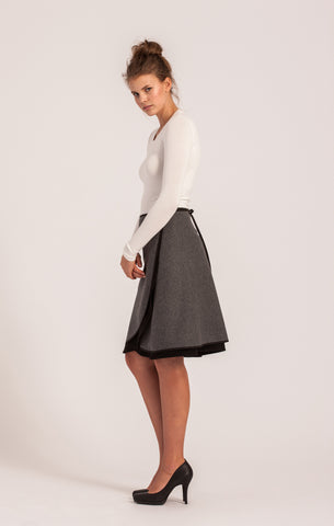 Charcoal on Black <br>Wool Wrap Skirt <br>Original Length