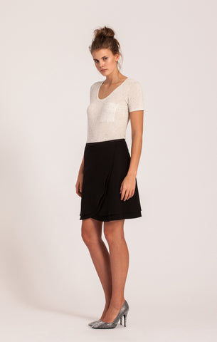 Black on Black <br>All-Season Wrap Skirt <br>Petite Length