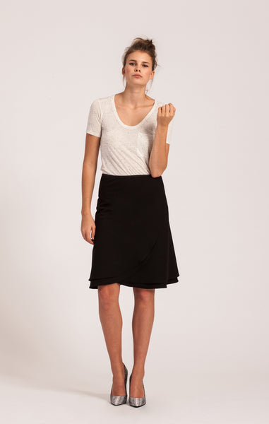 Black on Black <br>All-Season Wrap Skirt <br>Original Length