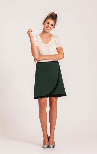 Emerald on Black <br>All-Season Wrap Skirt <br>Petite Length