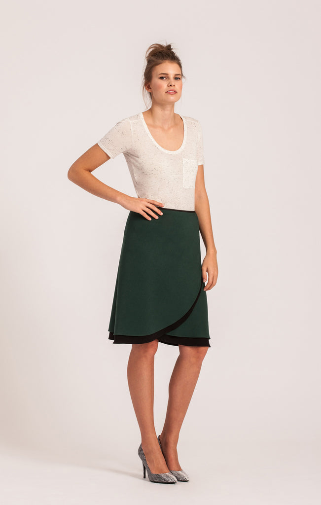 Emerald on Black <br>All-Season Wrap Skirt <br>Original Length