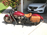 Custom leather saddlebags in Desert Tan for Indian Scout motorcycles